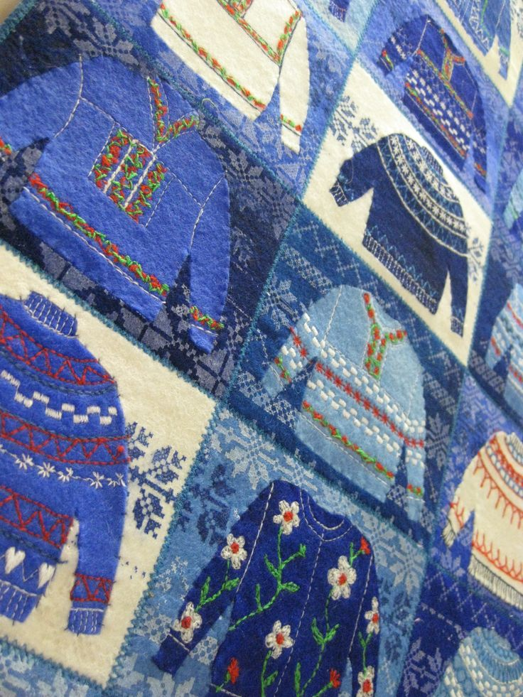 Blue Jumpers by Gillian Travis at Prague Patchwork Meet 2015