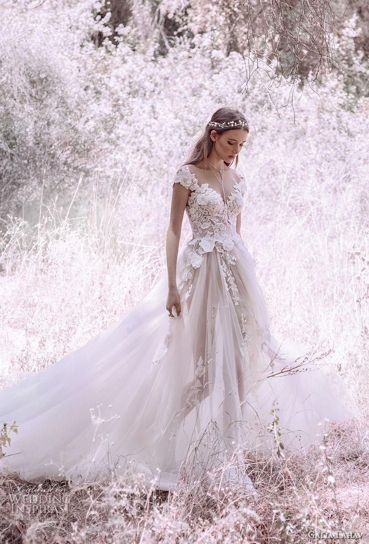 galia lahav gala 4 2018 bridal cap sleeves sweetheart neckline heavily embellished bodice tulle skirt romantic princess a line wedding dress mid lace back royal train (902) mv -- Gala by Galia Lahav 2018 Wedding Dresses