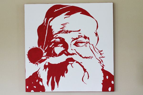 "googled ""santa pop art"", use projector to paint image onto canvas...easy! Pottery Barn this one in grey a few years ago...love this red one too tho."
