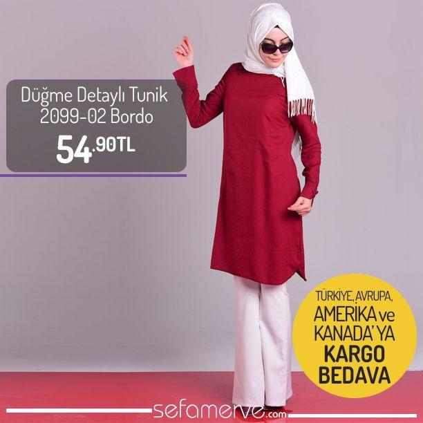 Yeni Ürün !! Düğme Detaylı Tunik 2099-02 Bordo 54,90 TL #sefamerve #tesetturgiyim #tesettur #hijab #tesettür #tunik