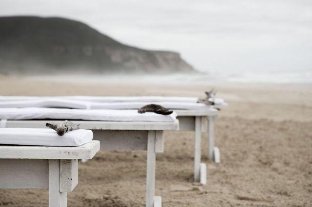 White bench beach ceremony #plett www.eventsandtents.co.za