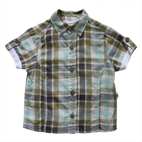Daisy and Moose Sage Gingham Short Sleeve Casual Boys Shirt