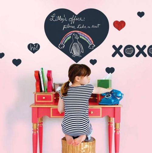 Chalkboard Hearts Wall Decal.