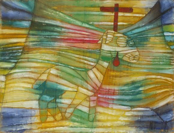 """PAUL KLEE THE LAMB, 1920, 39 Oil and pen-and-ink drawing on cardboard Is this little painting so easy to understand? The representational elements are not difficult to decipher with the aid of Christian iconography. The lamb with the cross behind its head is the """"lamb of God"""", i.e. Jesus, the redeemer. The sacrifice of his blood delivered the world from guilt and sin. The lamb is embedded in a warped zone, like a suspended piece of cloth. By only a small stretch of the imagination, we are…"""