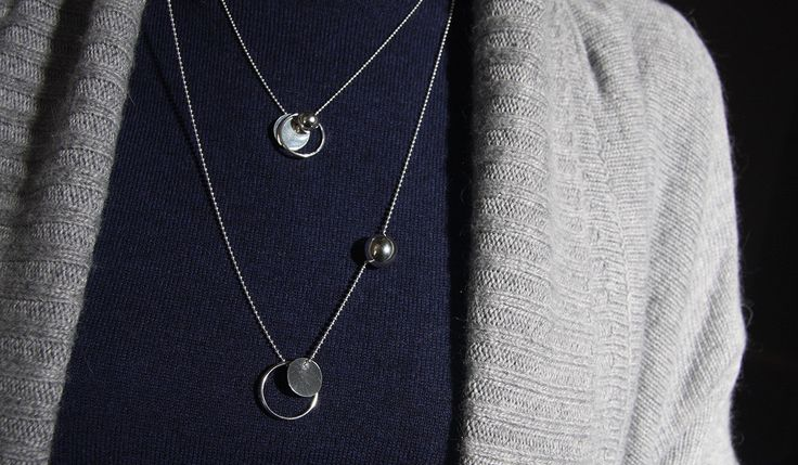 Three circular forms: a disk, a ring and a sphere, all hanging from a ball link Sterling Silver necklace - Circles Necklace - Geometric toys by MINRLhandcrafts on Etsy