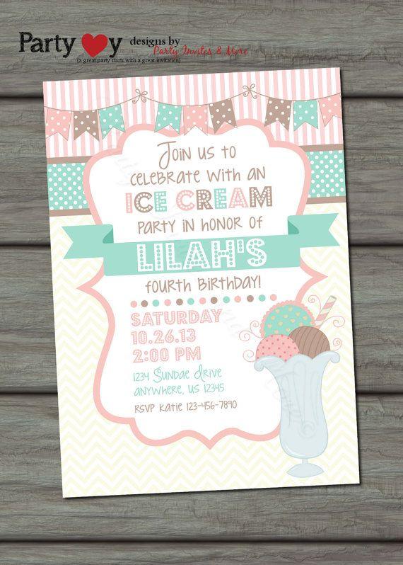 17 best ideas about ice cream invitation on pinterest | ice cream, Party invitations
