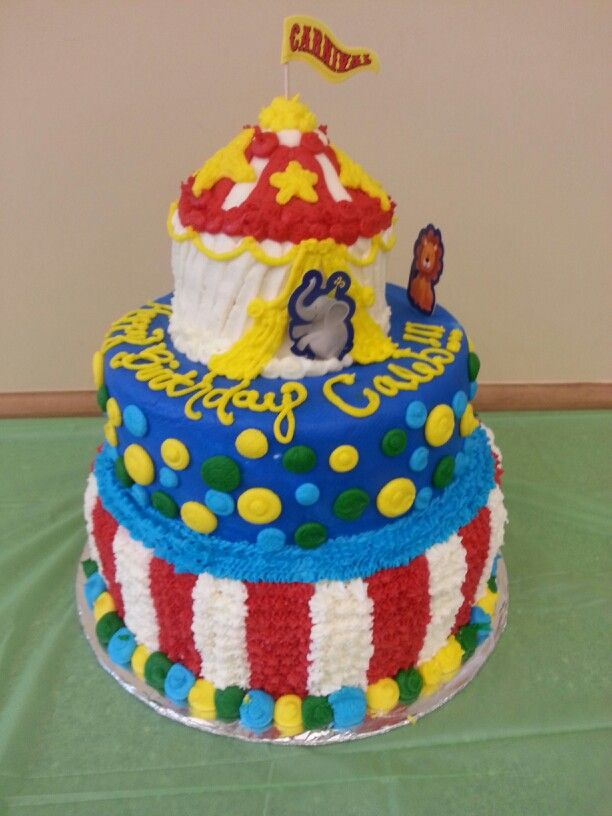 Circus Theme Birthday Cake For Boys First Birthday Using