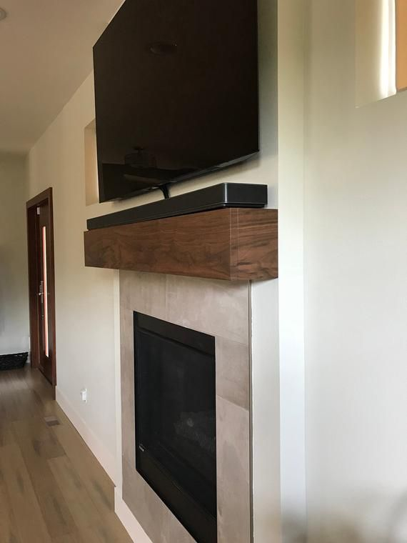 Custom Beam Style Fireplace Mantel With A Drop Front For Component