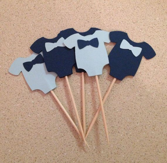 Baby Shower Cupcake Toppers   Baby Boy Onesies With Bowtie   Set Of 12