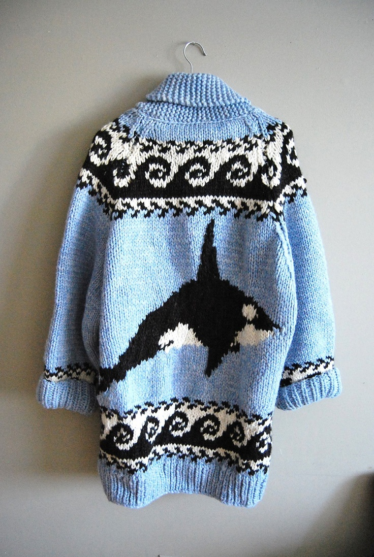 The Orca - Vintage Baby Blue Orca Killer Whale Cowichan Knit Sweater
