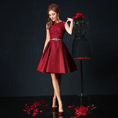 Cocktail Party Dress - Burgundy / Jade Petite Ball Gown Jewel Short/Mini Lace / Charmeuse – USD $ 99.99