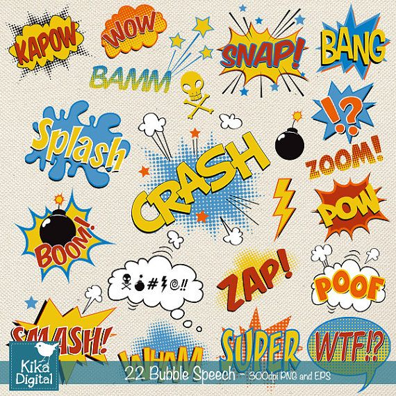 Speech Bubble clipart, super hero pop art text clip art, scrapbook, invitation, greeting cards - INSTANT DOWNLOAD