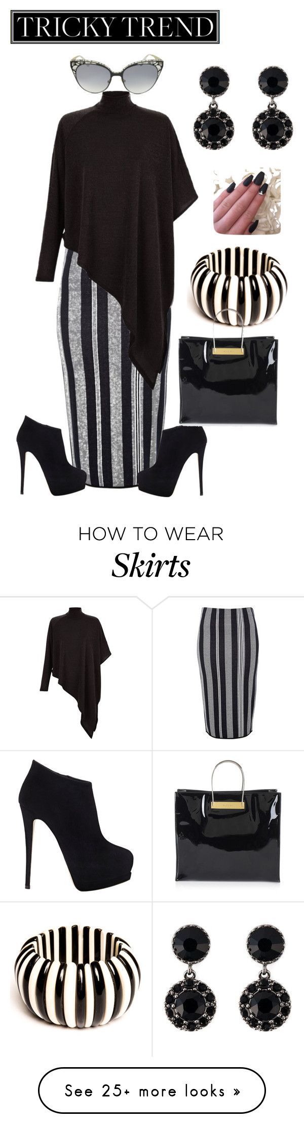 """High Neck Blouse & Pencil Skirt"" by latinavixn on Polyvore featuring River Island, AX Paris, Giuseppe Zanotti, Jimmy Choo, Balenciaga, Givenchy, women's clothing, women's fashion, women and female"