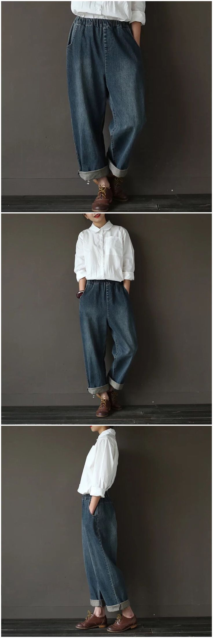 Vintage loose jeans women's trousers
