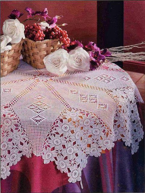 """""""Wisteria Clusters""""  ♥LCM♥ with diagram --- Ivelise Feito à Mão: Toalha De Mesa Linda Em Crochê"""