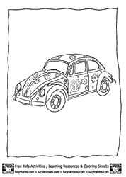 Car Coloring PAges VW Beetle Flower Power Outline At Lucy Learns Kids Activity Pages