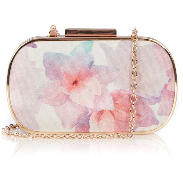 OASIS Fleur Print Clutch featuring polyvore fashion bags handbags clutches accessories grey gray handbags box clutch grey handbags oasis handbags chain purse