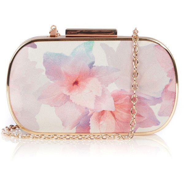 OASIS Fleur Print Clutch ($27) ❤ liked on Polyvore featuring bags, handbags, clutches, purses, accessories, bolsas, grey, hard clutch, gray handbags y chain handbags