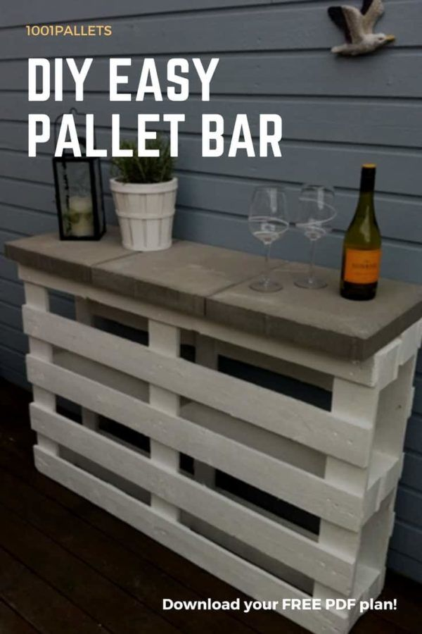 Diy Easy Pallet Bar Plans Free Pallet Tutorials 1001 Pallets Pallet Bar Plans Pallet Projects Easy Pallet Bar Diy