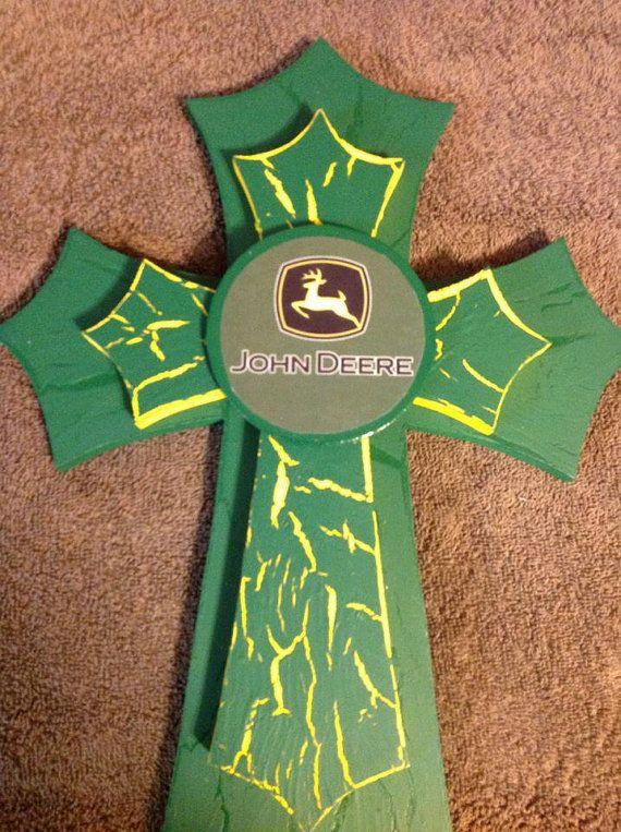 John Deere Crosses by TheCrossedCupcake on Etsy, $25.00 @SesiLee Cnossen Cnossen Cnossen, would be cute for Wyatt's room