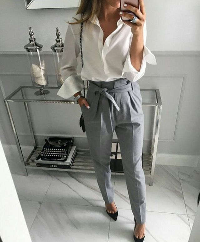 Business professional work outfit white shirt paper bag trousers