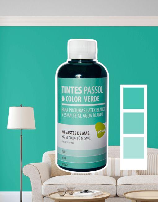 Tinte Passol Verde para mezclar con pinturas LÁTEX y ESMALTE al agua de Passol.