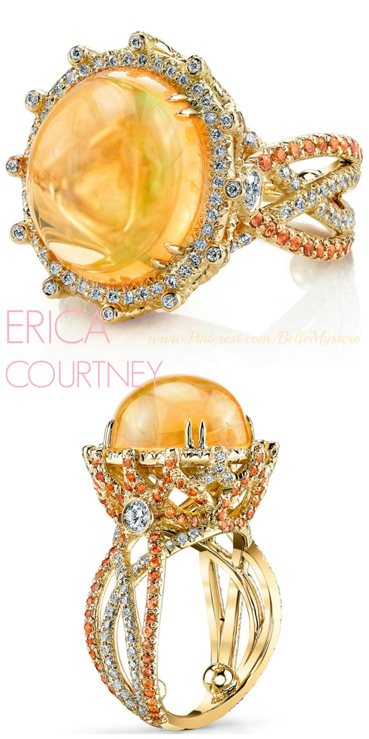 Mexican Fire Opal Ring | 18K Yellow gold ring featuring a 9 ct. Mexican Fire Opal, 1.34 ctw. of Orange Sapphires and 0.87ct. of Diamonds