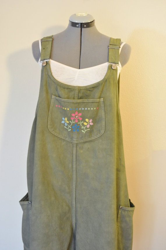 Olive 22W XL Bib OVERALL Shorts Sage Green Dyed by DavidsonStudio