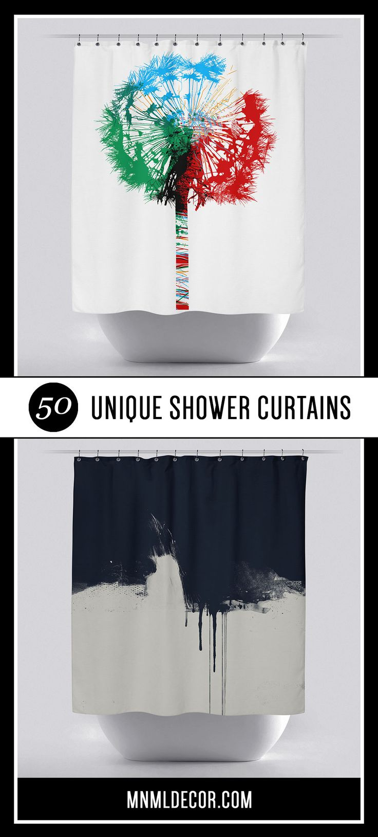 Check out our list of 50 cool & unique shower curtains at mnmldecor.com