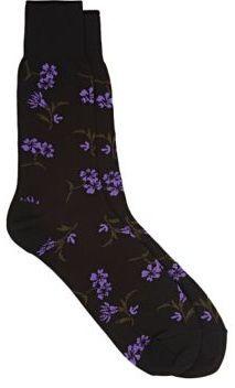 Comme des Garçons Men's Floral Trouser Socks-BLACK