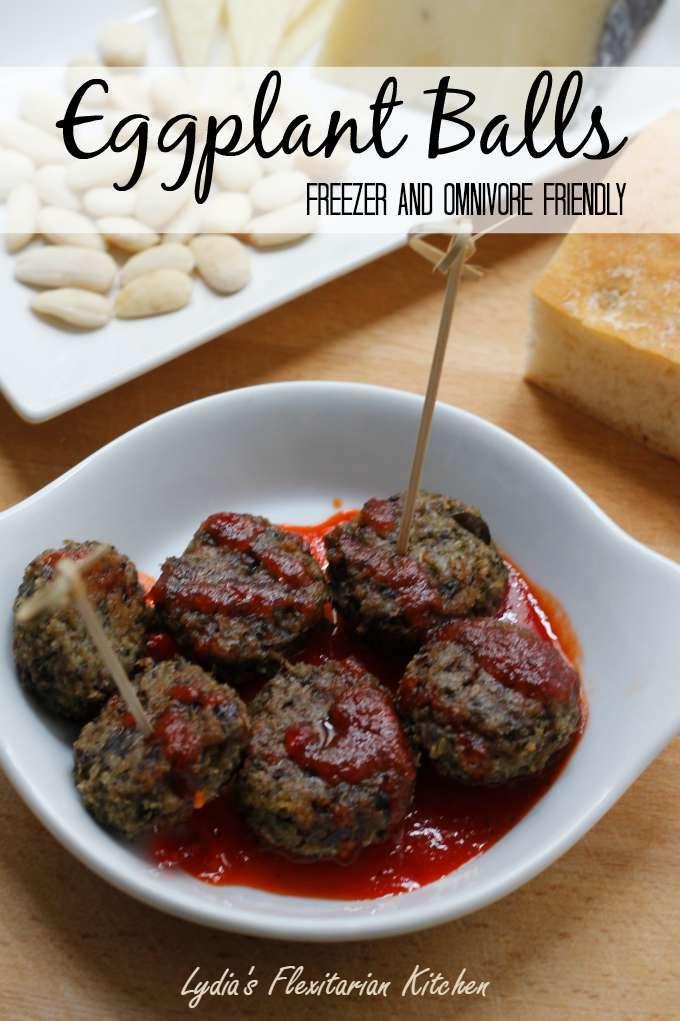 Eggplant Meatballs ~ Freezer and Omnivore Friendly ~ #TheRecipeReDux ~ Lydia's Flexitarian Kitchen