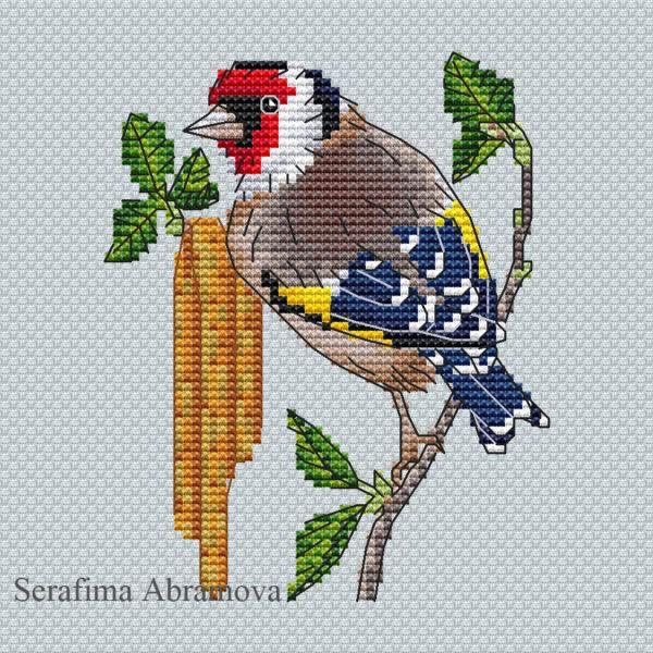 "Cross stitch design ""European Goldfinch"" #sa_stitch #sa_pattern #pattern"