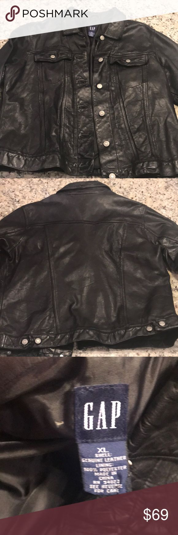 Authentic Vintage Black Leather Gap Jacket Authentic Vintage Black Leather Gap Jacket. Like New Condition. GAP Jackets & Coats