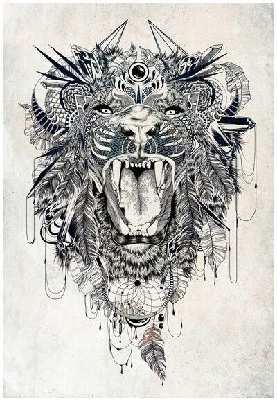 Sick lion tattoo design