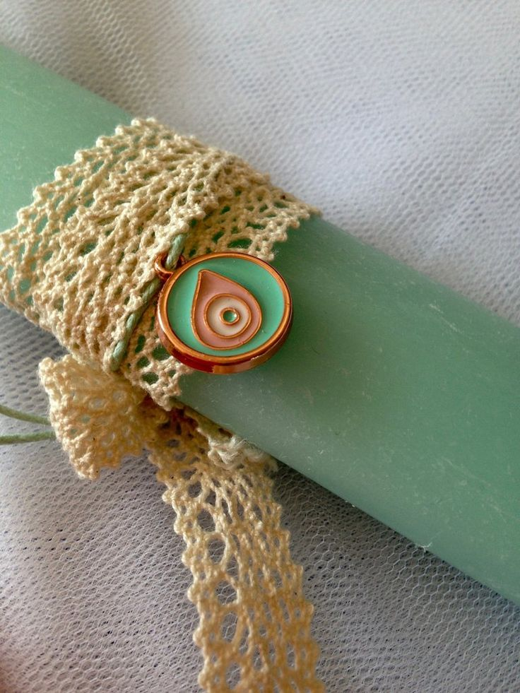 Easter Lambada, Greek orthodox candle with bright green abstract symbol of luck