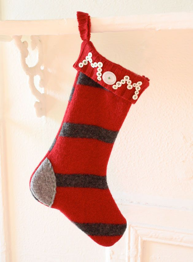 Take your favorite striped, argyle, or plain old sweater and reconstruct it  into a custom holiday stocking!