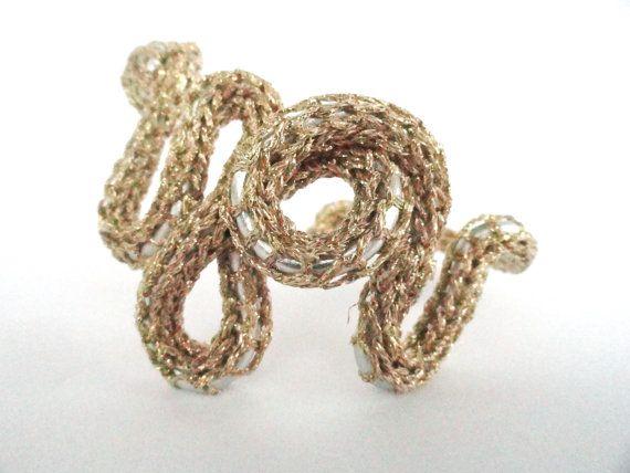 Gold you  Bracelets in Aluminum  metal yarn in by JewelnotJewel