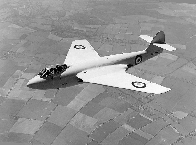 19 Nov 1948 - 1st flight of The Hawker P.1052, British experimental jet aircraft built for trials with swept wings