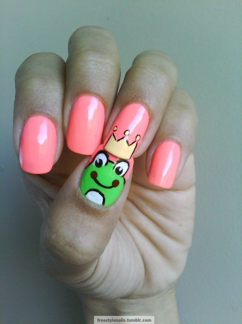 : Kiss, Nails Art, Nailart, Neon Pink Nails, Frogs Prince, Nails Polish, Frogs Nails, Art Nails, Prince Charms