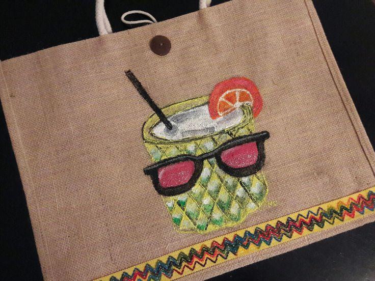 #style, #handpaintedbag, #summer, handpainted bag