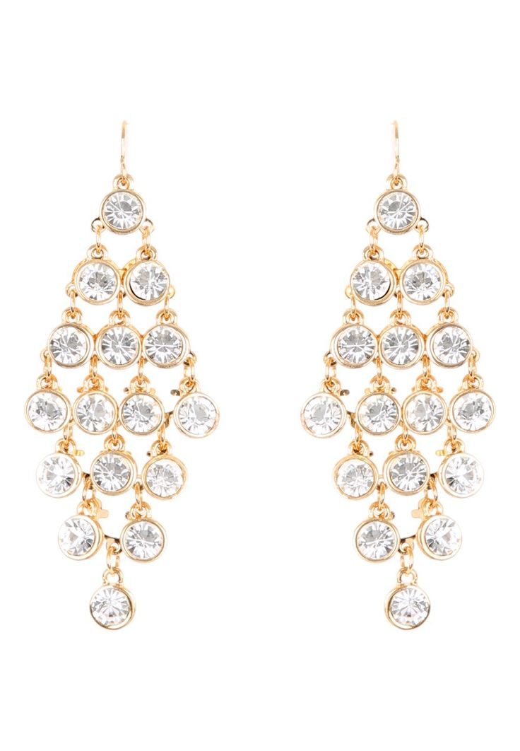 Take your glamorous evening looks to stylish new heights with these women's round crystal cascade earrings, featuring an array of sparkling diamantes in a diamond formation.