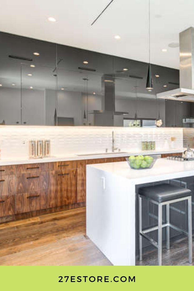 High Gloss European Walnut Veneer  Cabinet doors, Modern kitchen