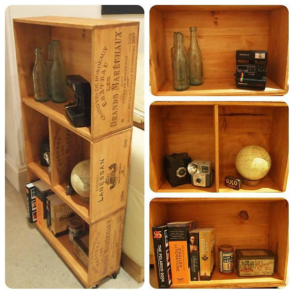 Wine Crate Shelving by Upcycling Emporium