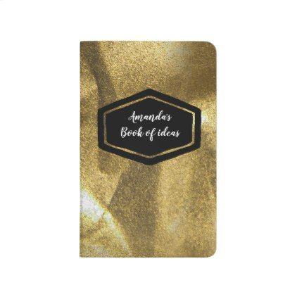 Crumpled gold personalized journal notebook - glitter glamour brilliance sparkle design idea diy elegant