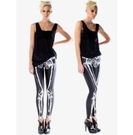 Black White Skeleton Print Tight Leggings