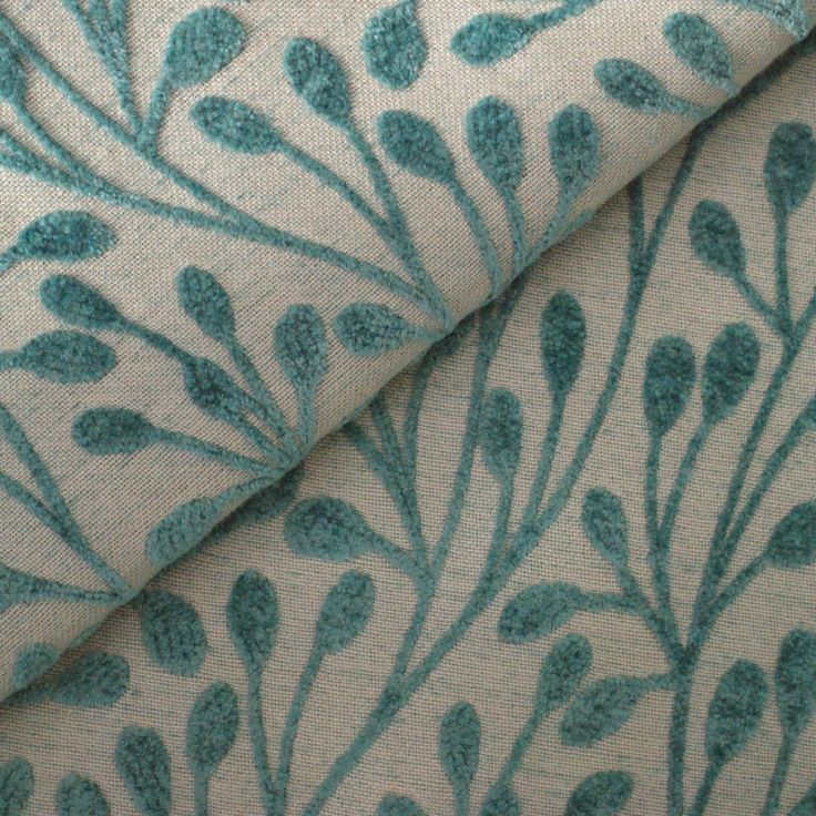 Patterned Teal Flat-Weave Curtain and Upholstery Fabric | Finley Peacock Pattern from Loome Fabrics