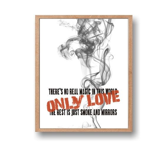 There's no real magic in this world only love - Endeavour, Inspirational quote,Printable quote,Instant download,Anniversary quote,Wall art decor by Paffle Design