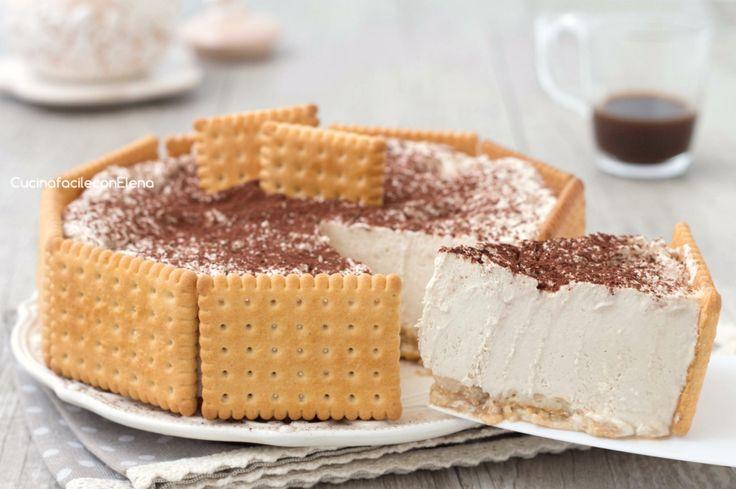 La torta crema di caffè è un dolce freddo senza cottura super cremoso, velocissima da fare, senza burro e senza uova, è divina!