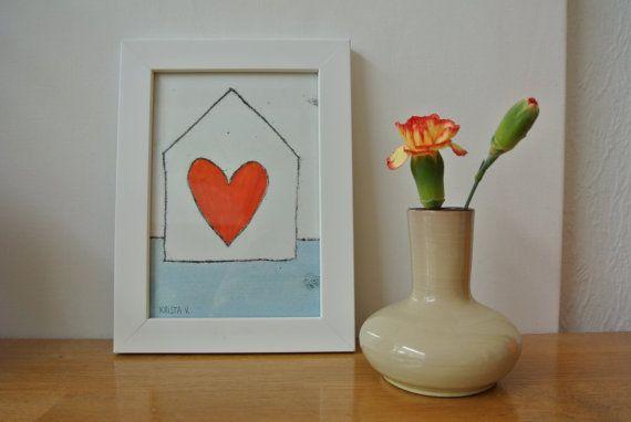 Monotype 'Home is where the heart is' - klein huisje met rood hart, enkele druk inclusief lijst
