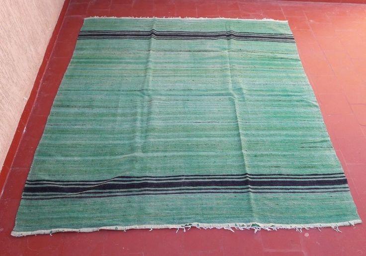 "old handmade moroccan berber tribal bedding haik hanbal blanket rug tapis6'5""x6' #Handmade #NorthAfrican"